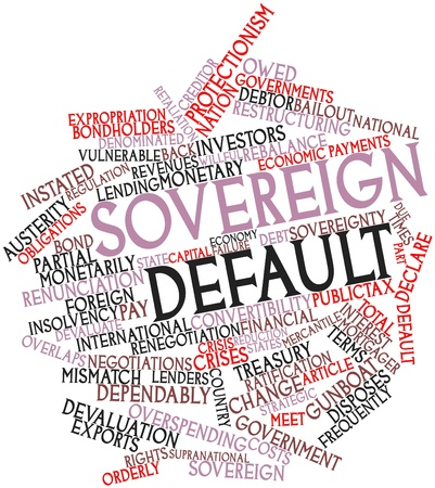 retaliation: Abstract word cloud for Sovereign default with related tags and terms Stock Photo