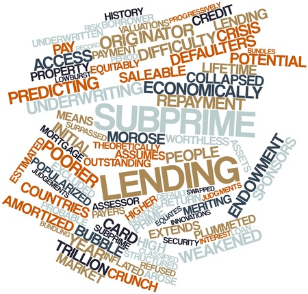 Abstract word cloud for Subprime lending with related tags and terms Stock Photo - 16446010