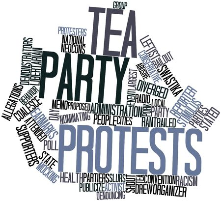 allegations: Abstract word cloud for Tea Party protests with related tags and terms Stock Photo