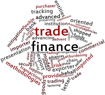 exporter: Abstract word cloud for Trade finance with related tags and terms