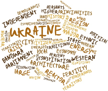 annexed: Abstract word cloud for Ukraine with related tags and terms