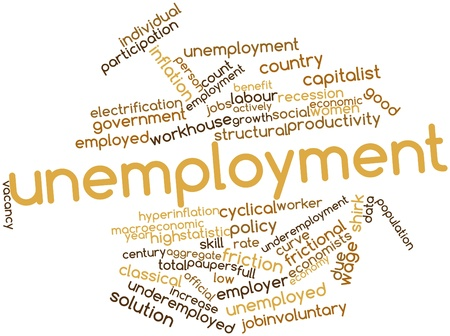 defined: Abstract word cloud for Unemployment with related tags and terms Stock Photo