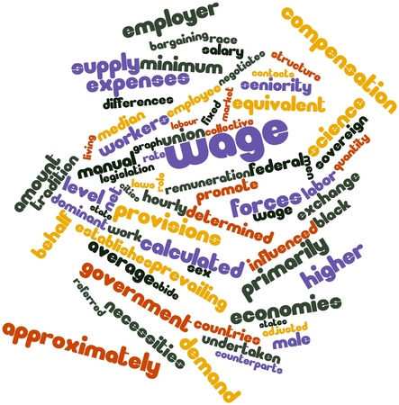 Abstract word cloud for Wage with related tags and terms Banco de Imagens