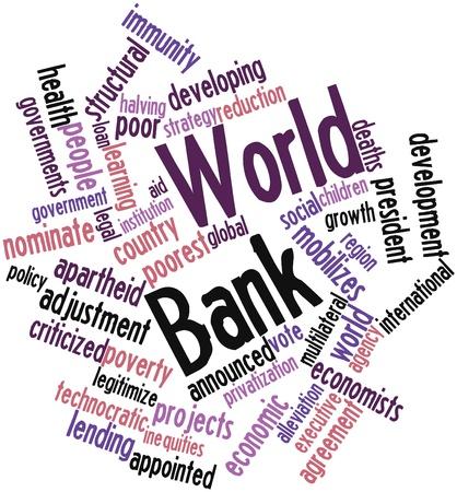 banco mundial: Nube palabra abstracta por el Banco Mundial con las etiquetas y términos relacionados Foto de archivo