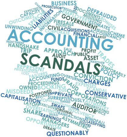 owned: Abstract word cloud for Accounting scandals with related tags and terms