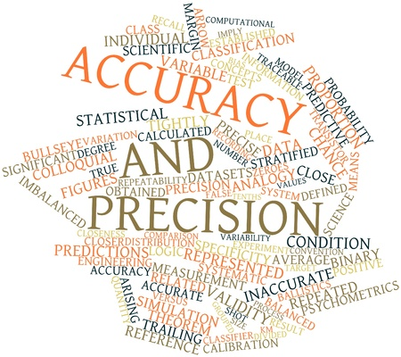 validez: Nube palabra abstracta para exactitud y precisi�n con las etiquetas y t�rminos relacionados Foto de archivo