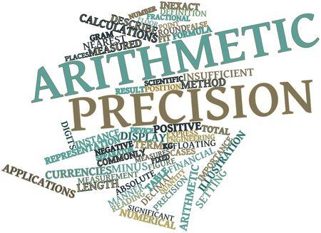 metodo cientifico: Nube palabra abstracta para precisión aritmética con etiquetas y términos relacionados