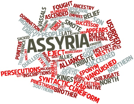 cuneiform: Abstract word cloud for Assyria with related tags and terms Stock Photo