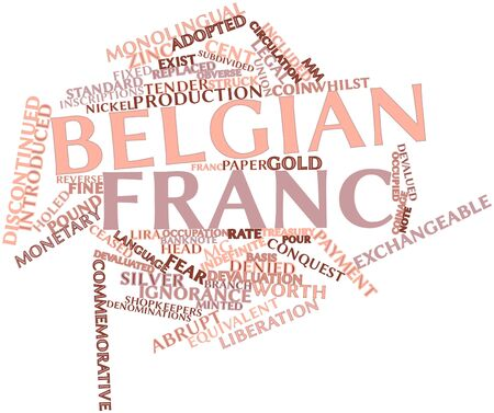 replaced: Abstract word cloud for Belgian franc with related tags and terms Stock Photo