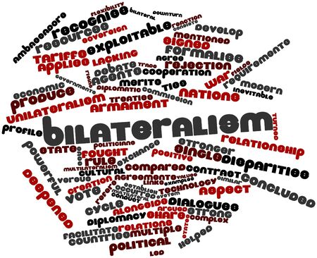 signed: Abstract word cloud for Bilateralism with related tags and terms Stock Photo