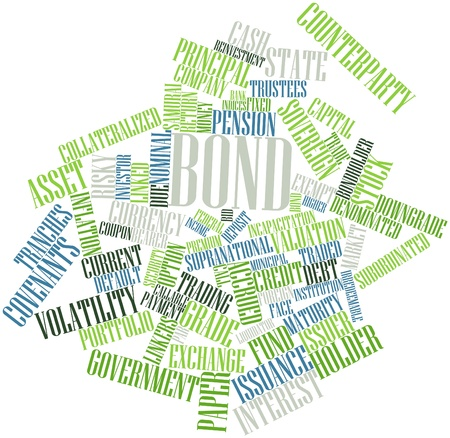 downgrade: Abstract word cloud for Bond with related tags and terms Stock Photo