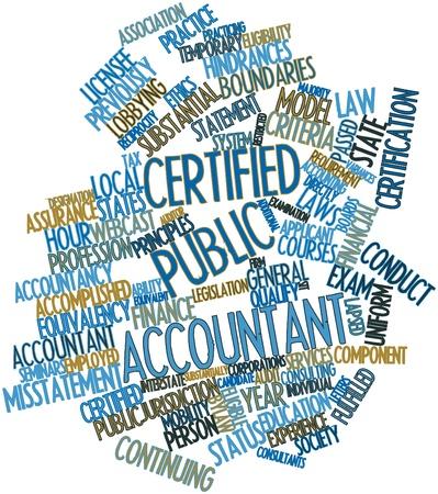 expert comptable: Nuage de mot abstrait pour Certified Public Accountant avec des �tiquettes et des termes connexes Banque d'images
