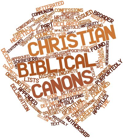 Abstract word cloud for Christian biblical canons with related tags and terms photo