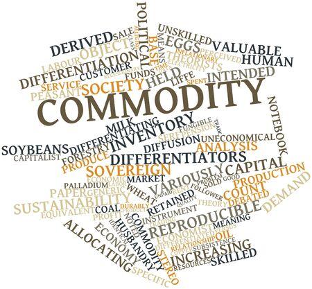 retained: Nube de palabras abstracto para los productos básicos con las etiquetas y términos relacionados