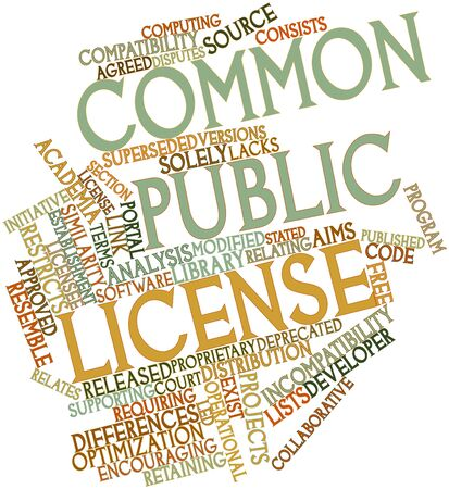 law library: Abstract word cloud for Common Public License with related tags and terms