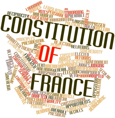 preamble: Abstract word cloud for Constitution of France with related tags and terms Stock Photo