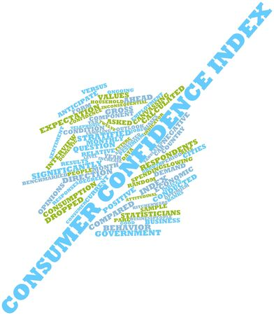 ongoing: Abstract word cloud for Consumer Confidence Index with related tags and terms Stock Photo