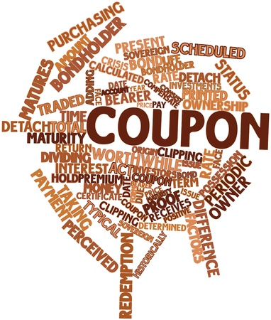 detach: Abstract word cloud for Coupon with related tags and terms Stock Photo