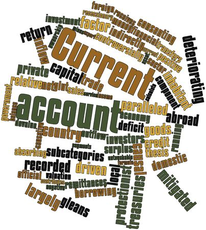 current: Abstract word cloud for Current account with related tags and terms Stock Photo