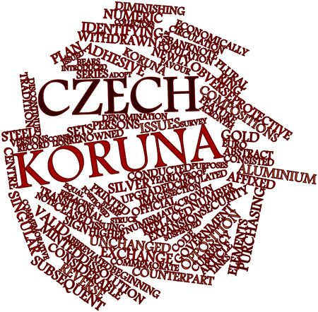 abbreviated: Abstract word cloud for Czech koruna with related tags and terms