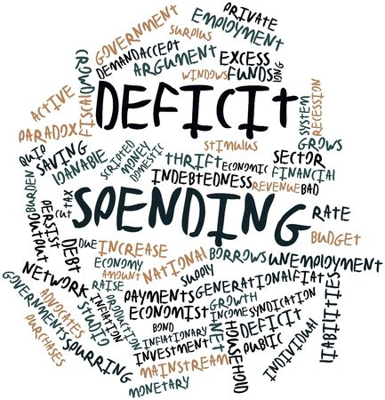 implies: Abstract word cloud for Deficit spending with related tags and terms Stock Photo