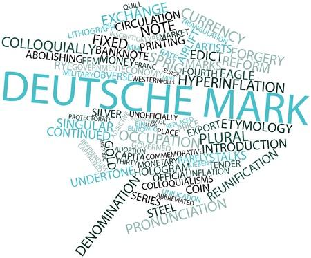 edicto: Nube palabra abstracta para Deutsche Mark con etiquetas y términos relacionados