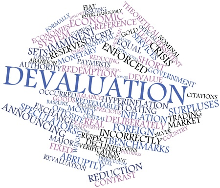 benchmarks: Abstract word cloud for Devaluation with related tags and terms
