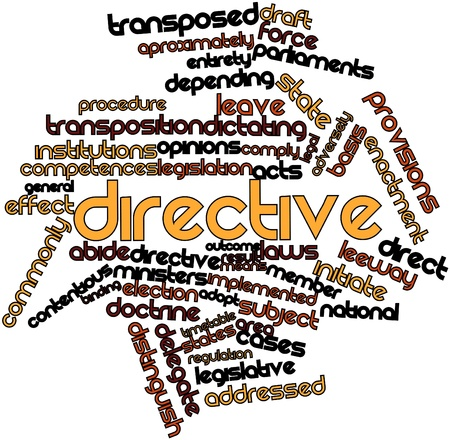 affected: Abstract word cloud for Directive with related tags and terms Stock Photo