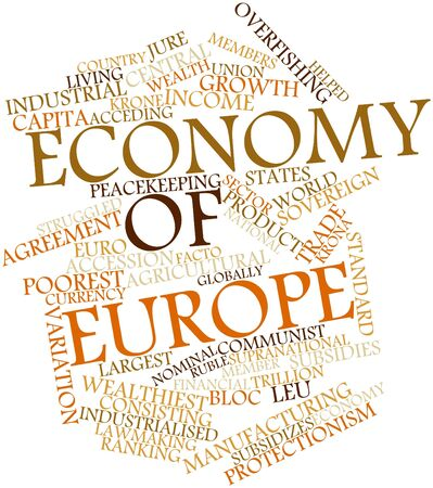 protectionism: Abstract word cloud for Economy of Europe with related tags and terms Stock Photo