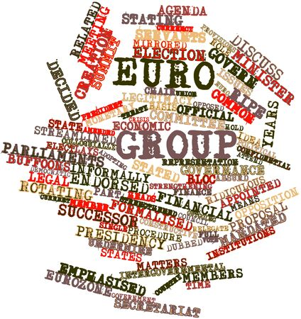 financial institutions: Abstract word cloud for Euro Group with related tags and terms Stock Photo
