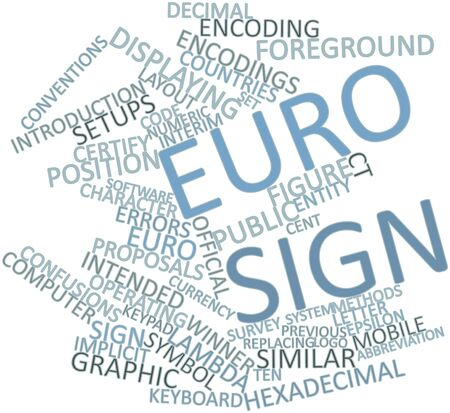 Abstract word cloud for Euro sign with related tags and terms Stock Photo - 16468008