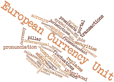 pronunciation in letters: Abstract word cloud for European Currency Unit with related tags and terms
