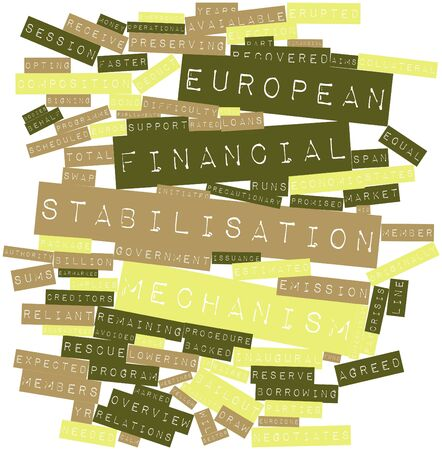 precautionary: Abstract word cloud for European Financial Stabilisation Mechanism with related tags and terms Stock Photo