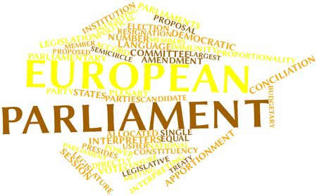 Abstract word cloud for European Parliament with related tags and terms
