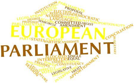 parliaments: Word cloud astratto per il Parlamento europeo con tag correlati e termini