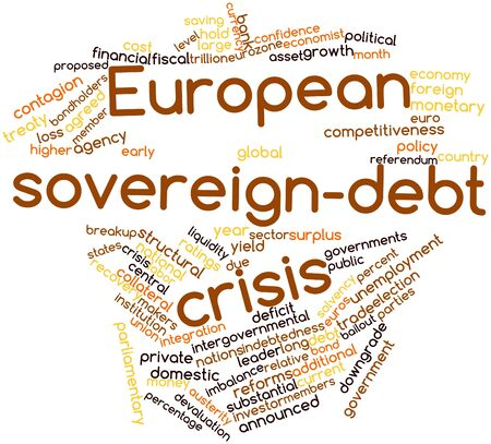downgrade: Abstract word cloud for European sovereign-debt crisis with related tags and terms