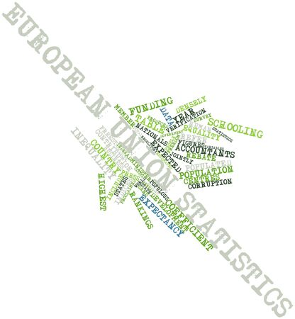 contributes: Abstract word cloud for European Union statistics with related tags and terms Stock Photo
