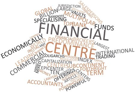 burgeoning: Abstract word cloud for Financial centre with related tags and terms Stock Photo