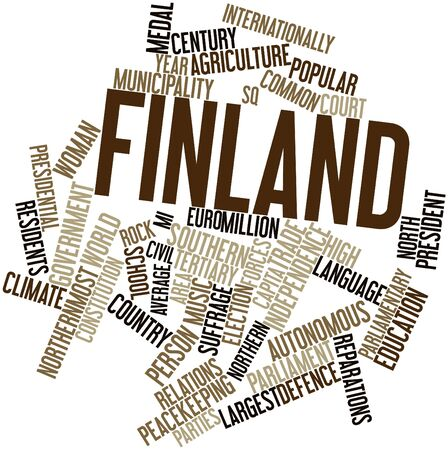 finland: Abstract word cloud for Finland with related tags and terms Stock Photo