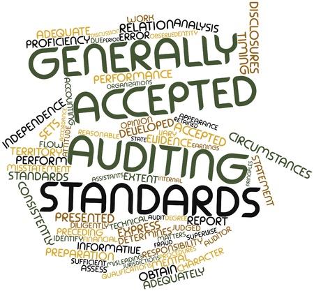 retained: Abstract Nube de la palabra de las Normas de Auditoría Generalmente Aceptadas con etiquetas y términos relacionados