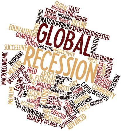 slowdown: Abstract word cloud for Global recession with related tags and terms