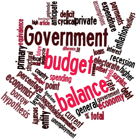 assumptions: Abstract word cloud for Government budget balance with related tags and terms Stock Photo