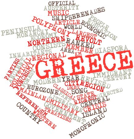 monophonic: Abstract word cloud for Greece with related tags and terms