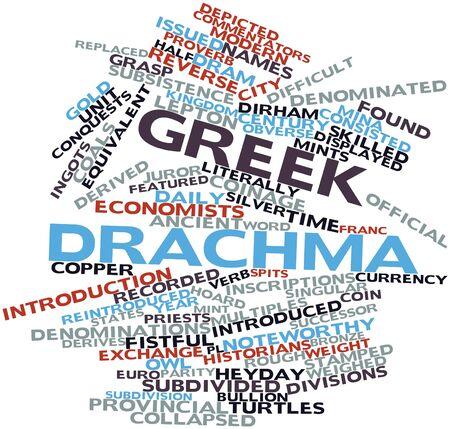 historians: Word cloud astratto per dracma greca con tag correlati e termini