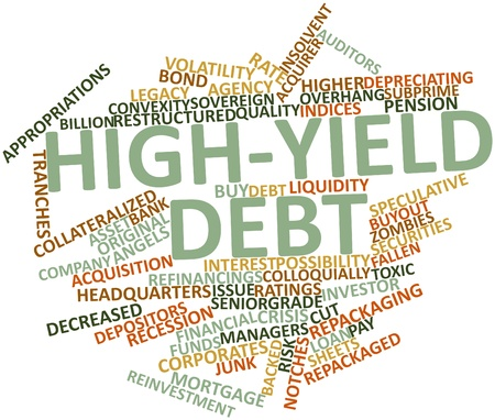 repackaged: Abstract word cloud for High-yield debt with related tags and terms