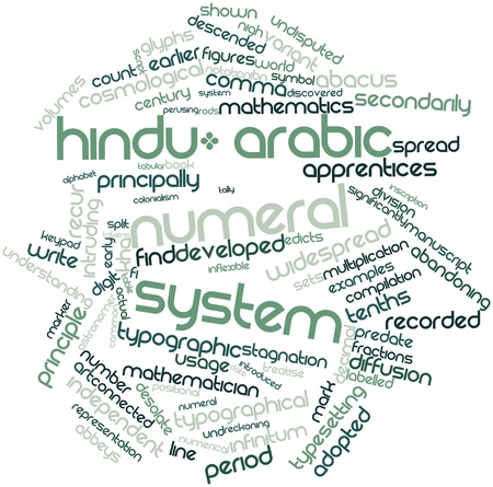 typesetting: Abstract word cloud for Hindu-Arabic numeral system with related tags and terms