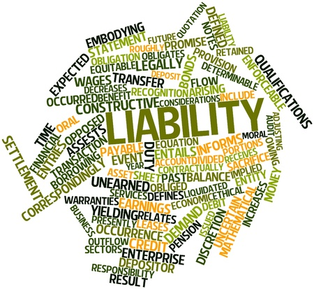 outflow: Abstract word cloud for Liability with related tags and terms Stock Photo