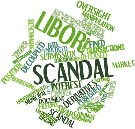 complicity: Abstract word cloud for Libor scandal with related tags and terms Stock Photo