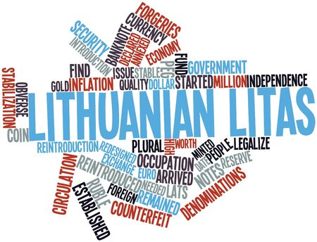 Abstract word cloud for Lithuanian litas with related tags and terms Stock Photo - 16467911