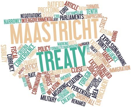 verdrag: Abstract woordwolk voor het Verdrag van Maastricht met gerelateerde tags en voorwaarden Stockfoto